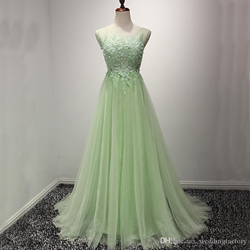 9e5bc2b2ea48 2017 Charming Mint Green Prom Dresses Long Formal Evening Party Gowns Sheer  Neck Beaded Lace Appliques Tulle Formal Wear With Sweep Train Plus Size Prom  ...