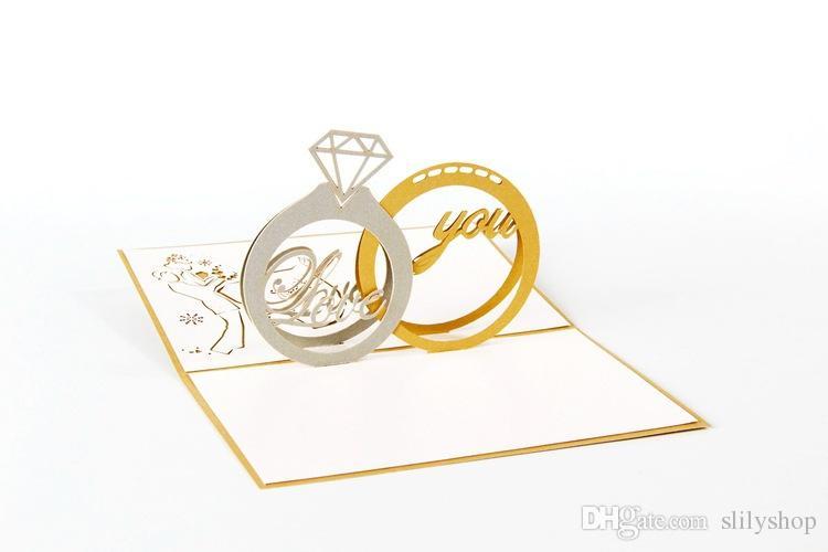 3D Pop Up Laser Coupure Cartes postales pour la Saint Valentin Vintage Kirigami Origami avec enveloppe Merci de t'aimer ta carte