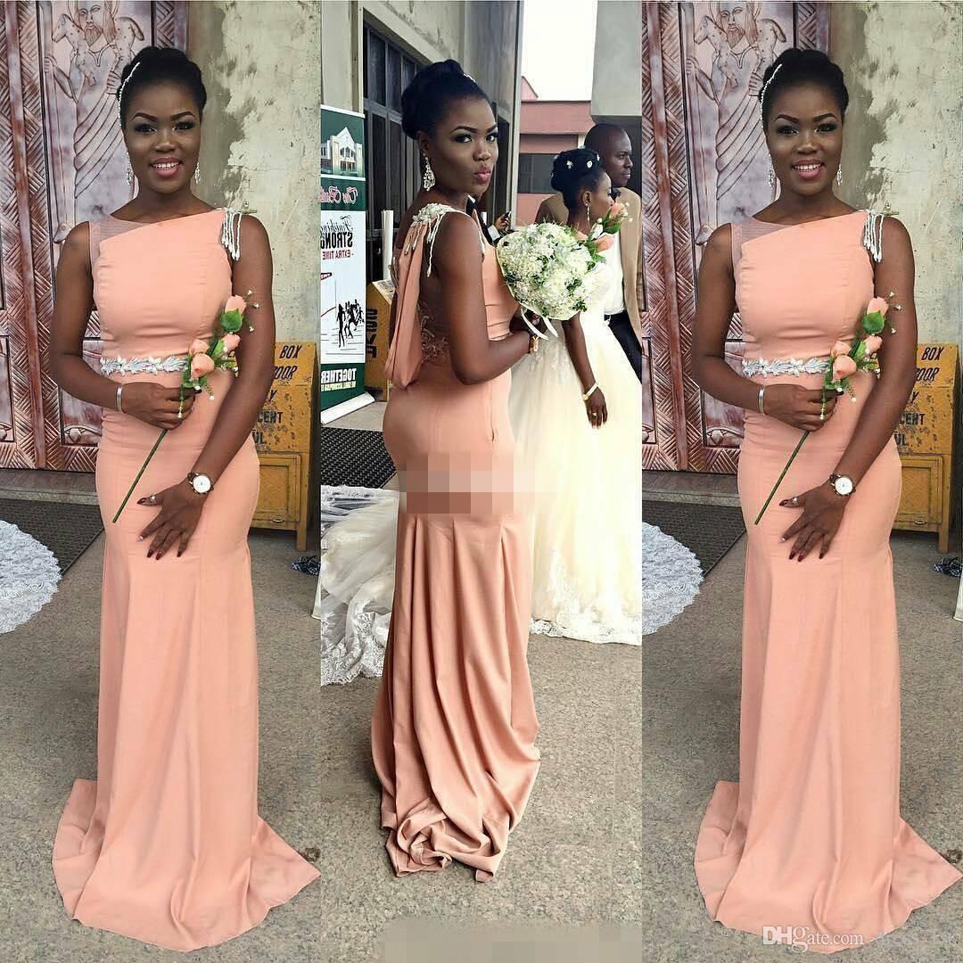 Африканский 2017 персиковый Атлас Русалка платья невесты длинные скромные Бато черный пояс фрейлина платья на заказ фарфора EN71110