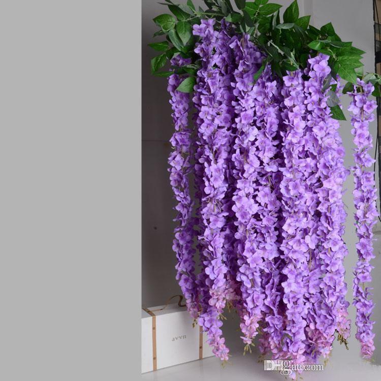 1.6 Metre Uzun Zarif Yapay Ipek Çiçek Wisteria Vine Rattan Düğün Centerpieces Süslemeleri Buket Çelenk Ev Süs Için