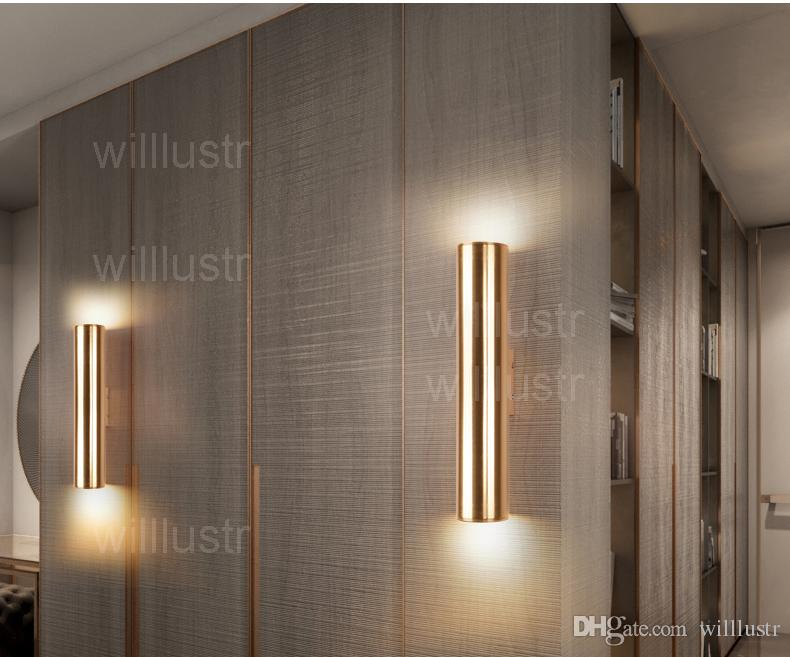 Modern LED wall lamp aluminum wall sconce metal lighting design lamps champagne gold tube light pipe minimalism luxury lights