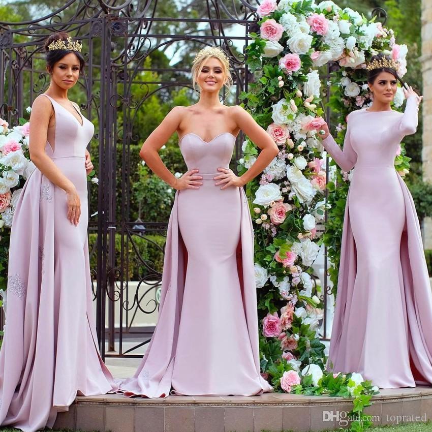 Elegant Light Purple Long Sleeve Bridesmaid Dresses Mermaid Satin Detachable Train Applique Sequins Mismatched Maid of Honor Gowns Evening