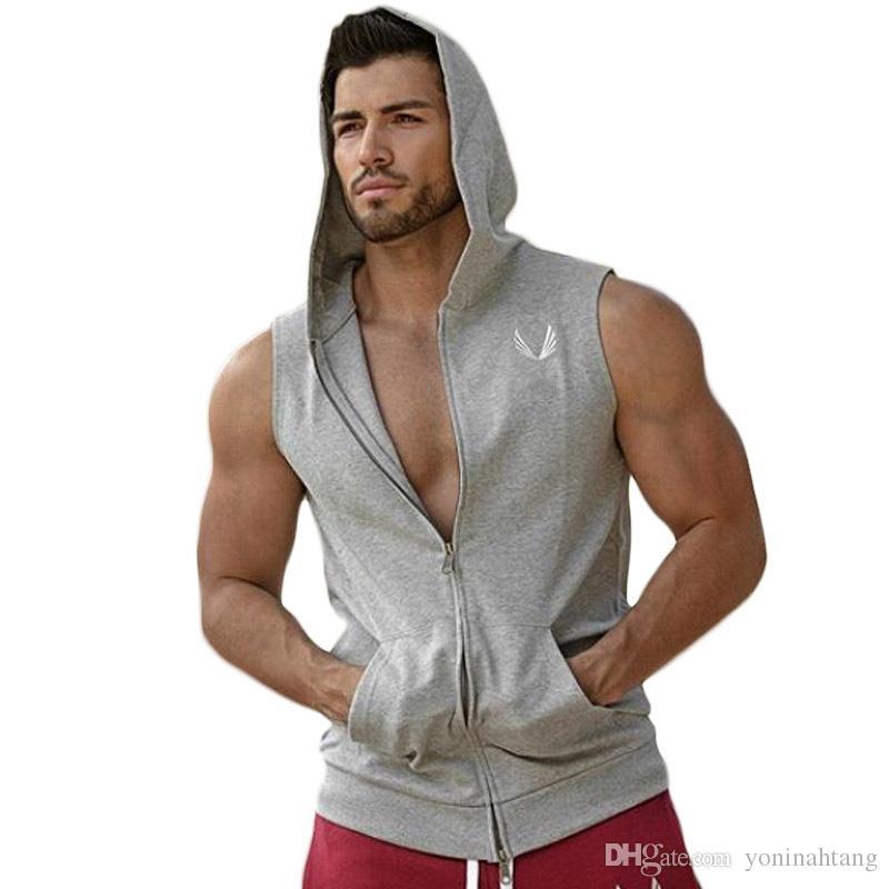 Venta al por mayor envío gratis hombres con capucha sin mangas camiseta algodón chaleco chaleco sin mangas sin mangas para hombre entrenamiento sudaderas con capucha de la aptitud sudaderas