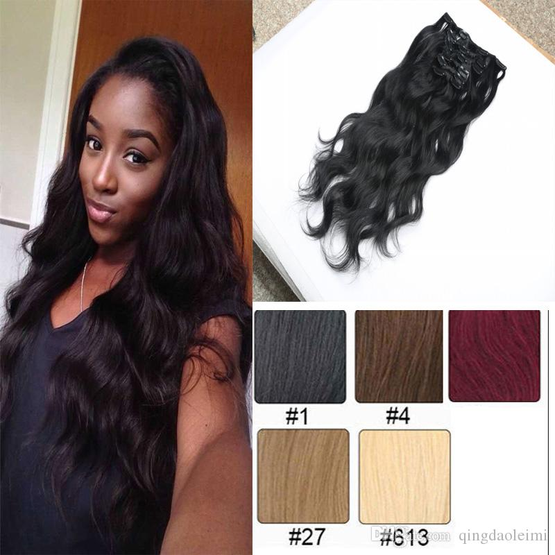 Thick Full Head Water Wave Clip In Human Hair Extensions 16clips