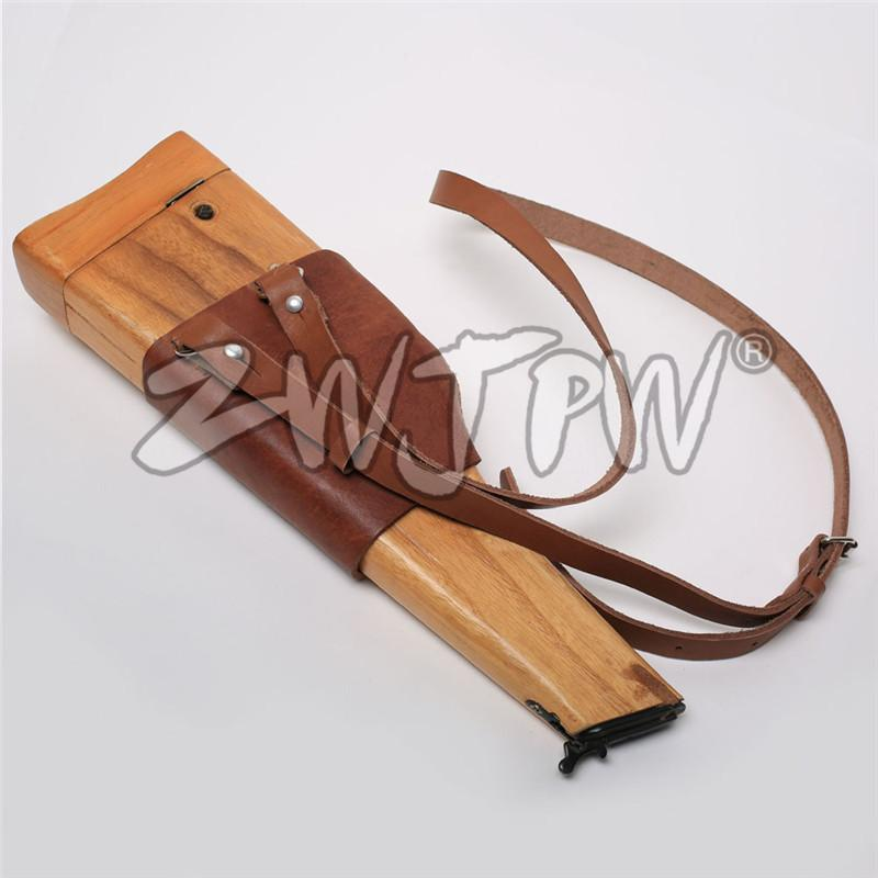 German Mauser C96 Broomhandle Leather Wooden Pistol Holster With Strap Hunting Clothing Shooting