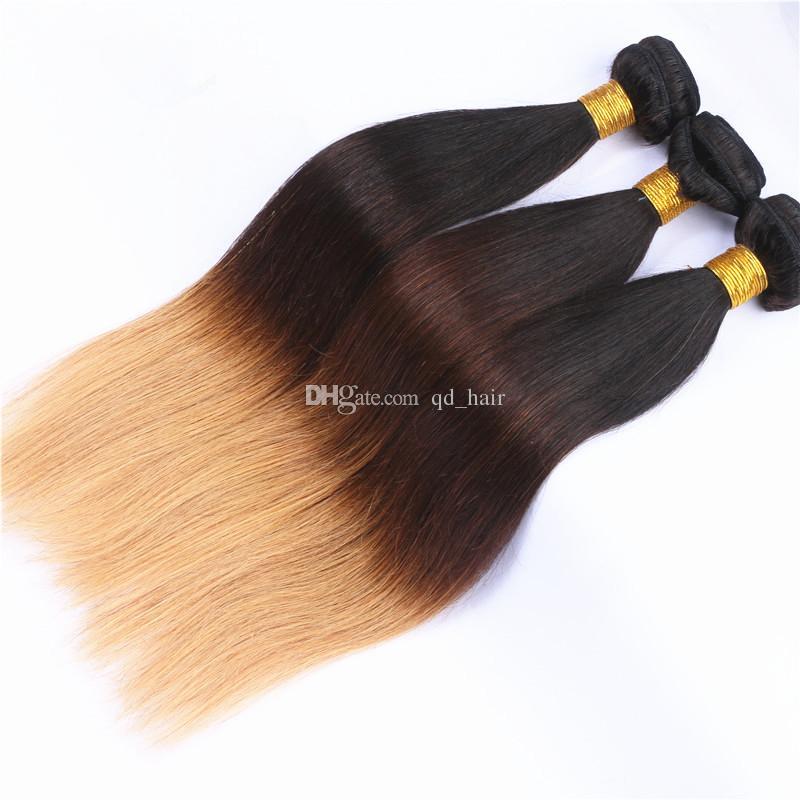 Honey Blonde 1B 4 27 Fasci di capelli lisci e diritti umani con pizzo frontale 13x4 orecchio all'orecchio frontale con estensione capelli Ombre