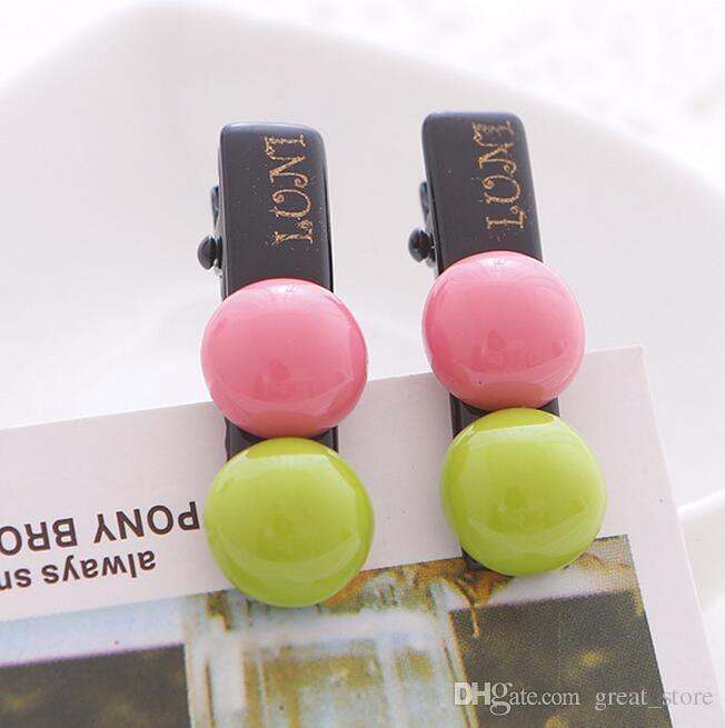 Hot sale New hair ornaments chocolate candy beans two-color semi-circular duckbill clip hair clip clip card FJ017 a