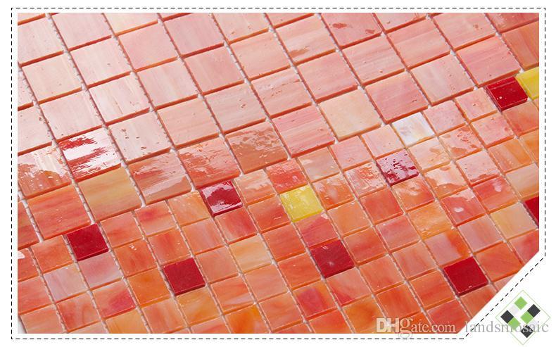 Acquista piastrelle in vetro rosso arancio rivestimenti cucina