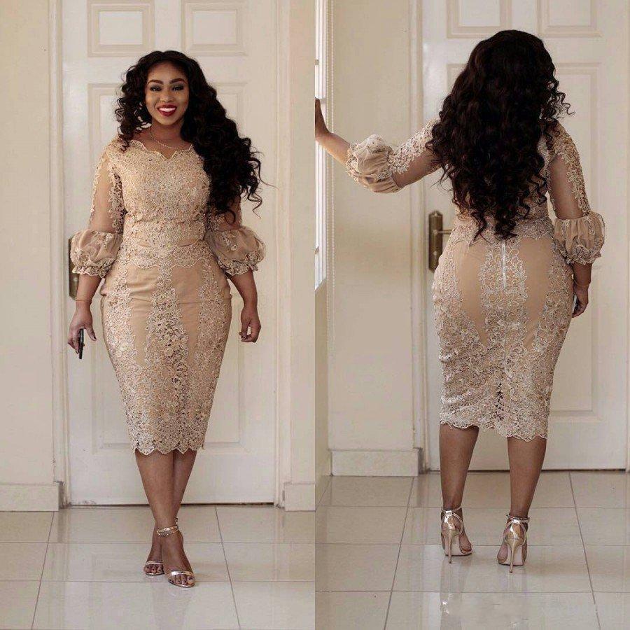 Jewel Neck Applique 3/4 Sleeve Zipper Tea Length Prom Dress Fashion Champagne Pretty Woman Party Dress Sexy Plus Size Cocktail Dresses 002