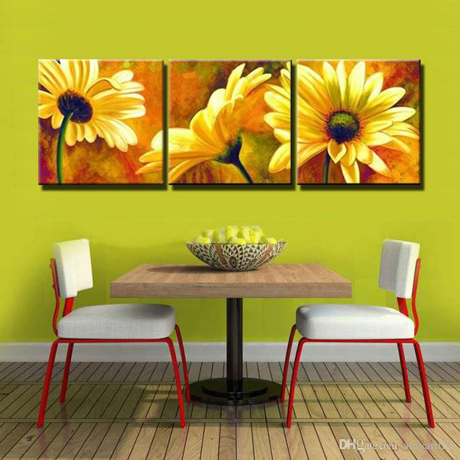 100% Hand-painted Oil Wall Art YELLOW Flowers Picture Chrysanthemum ...