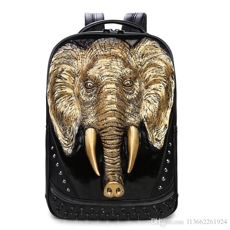 Personality Cool Youth 3D Animals Travel Leather Backpack Cool Backpacks  For Teenage Guys Book Bags For High School Students Travel Backpacks Small  Backpack ... 0593d3e0f22c8