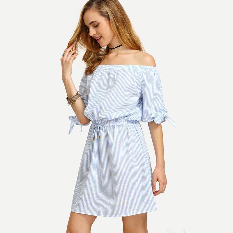 Women Blue Bardot Dress Striped Bow Tie Casual Shift Dresses Slash ...