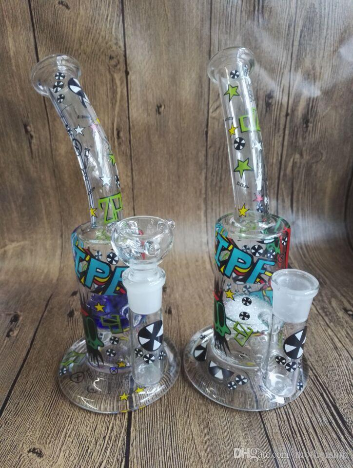 """Two function 11""""inches honey comb and tornado perk glass water pipe glass bong with Titaniul nail 18.8mm glass bowl oil rig"""