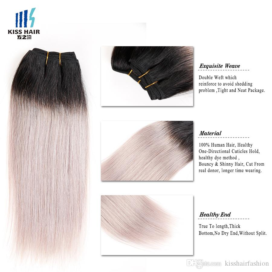 300g Two Tone T 1B Silver Grey Ombre Human Hair Weave Good Quality Colored Brazilian Silky Straight Hair Extensions Peruvian Indian Hair