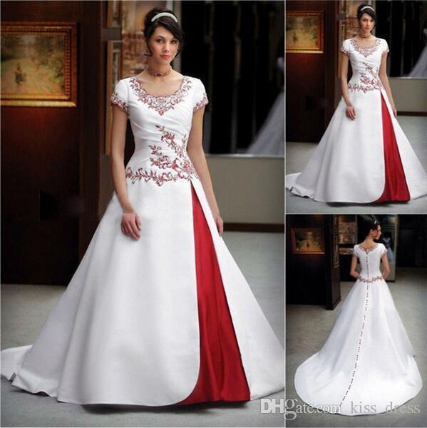 Grosshandel Rote Und Weisse Stickerei Hochzeits Kleider Neue Heisse