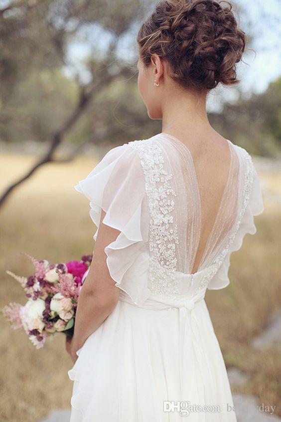 Vestidos de novia estilo bohemio hippie 2019 Playa Una línea de vestidos de novia Vestidos de novia Backless Encaje blanco gasa Boho