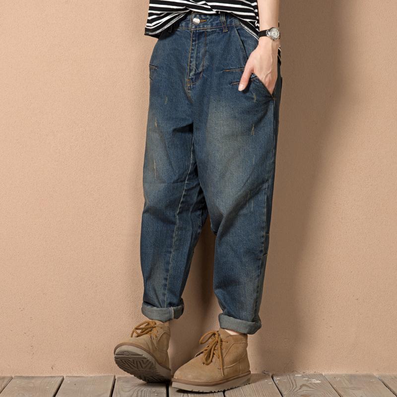 34c5ab19fc7 2019 Wholesale L 3XL 4XL 5XL Plus Size Boyfriend Baggy Jeans For Women 2016  Autumn Woman Loose Fit Jeans Harem Femme Blue Denim Pantolon From Baica