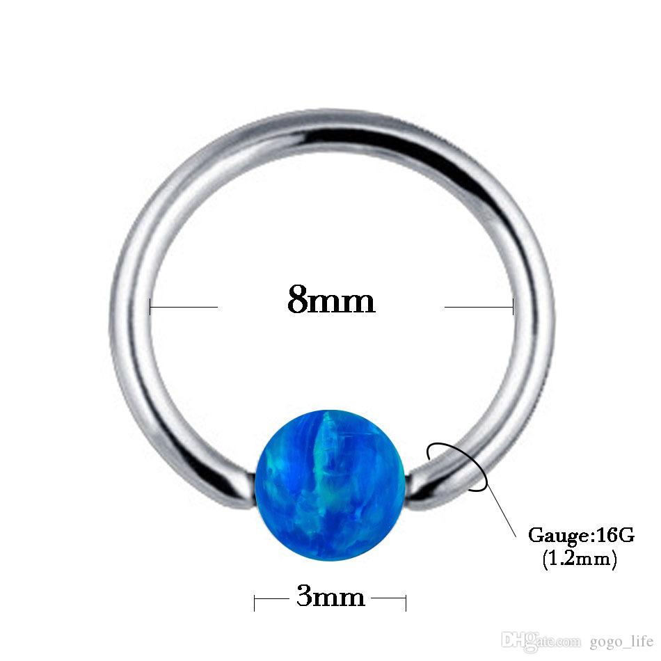G23 Titanium Septum Piercing Nez Anneau Opale Boule De Fermeture Nipple Lèvre Tragus Sourcils Boucle D'oreille Nez Anneaux Bijoux De Corps