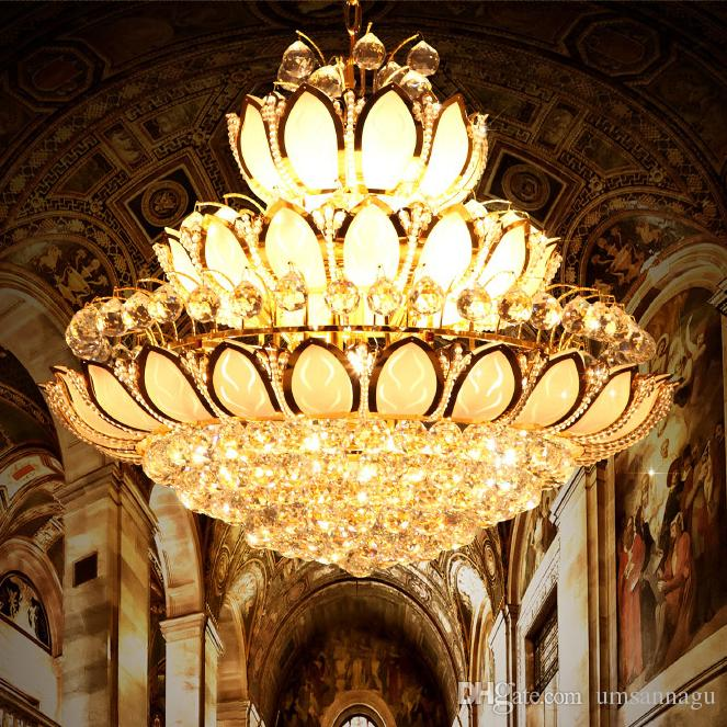 Modern gold crystal chandeliers lights fixture european american modern gold crystal chandeliers lights fixture european american lotus flower chandelier golden crystal droplight home indoor hotel lighting edison bulb aloadofball Images