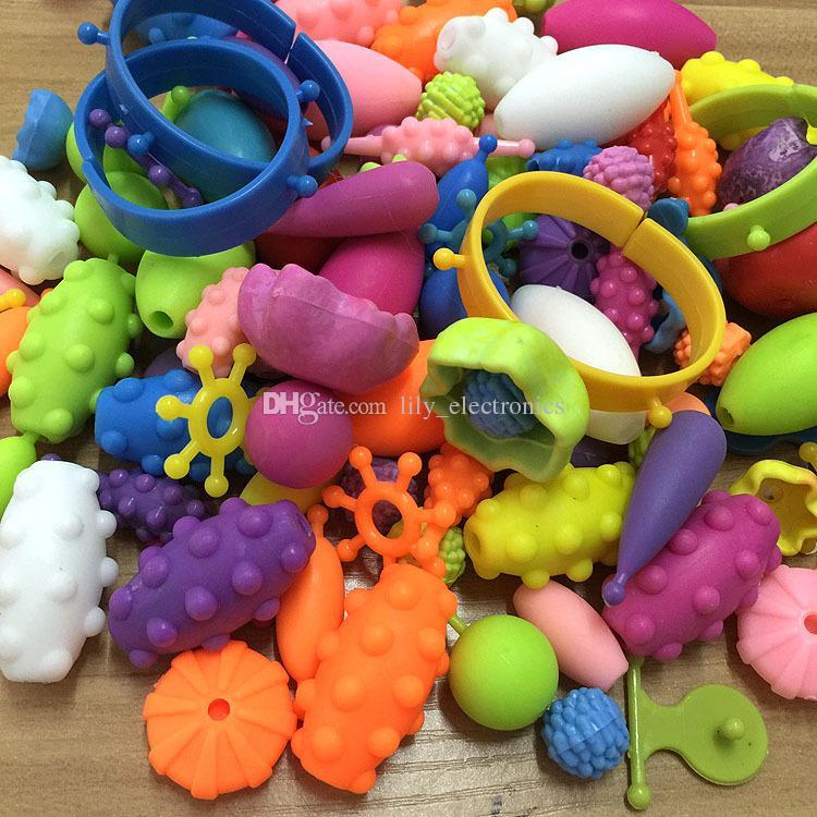 Jouets éducatifs pour enfants bricolage perles en plastique autour des perles