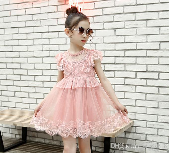 New Summer Big Girls Princess Lace Dress Solid Color Short Sleeve Kids Party Dress Children Ball Gown Tutu Dresses White Pink 3200