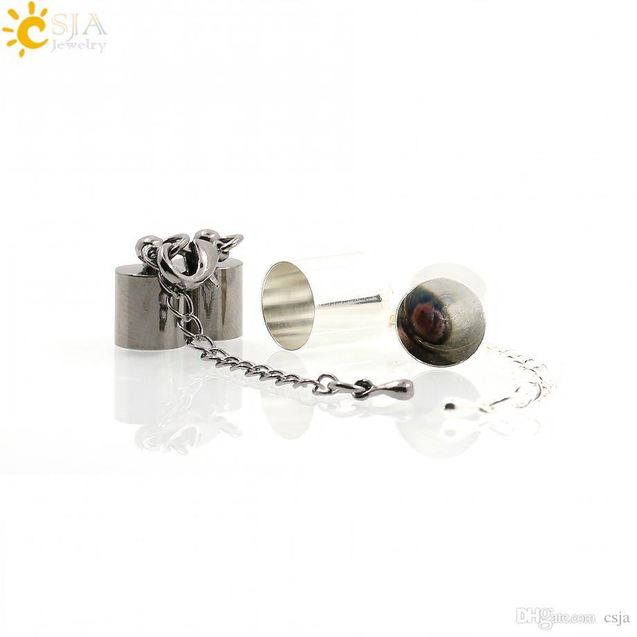CSJA 10 Ensembles pour 6mm Cordon Cloche Rose Plaqué Or Collier Bracelet Connecteur Homard Fermoir Embout Résultats de Bijoux Ensemble Chaîne E170