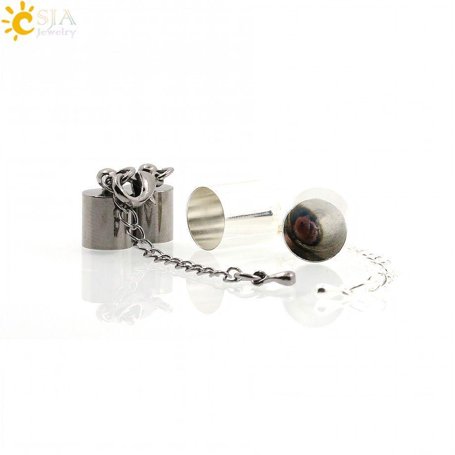 CSJA Collar de 4mm Pulsera de Cuerda de Cuerda de La Joyería DIY Que Hace Hallazgos Accesorios Conjunto Completo Casquillo de Campana Extender la Cadena de Cola E172
