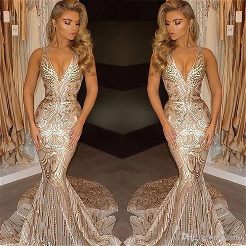 African 2018 Luxury Gold Mermaid Prom Dresses Unique V Neck Sexy Prom Gowns Vestidos Special Occasion Dresses Evening Wear Party Gowns