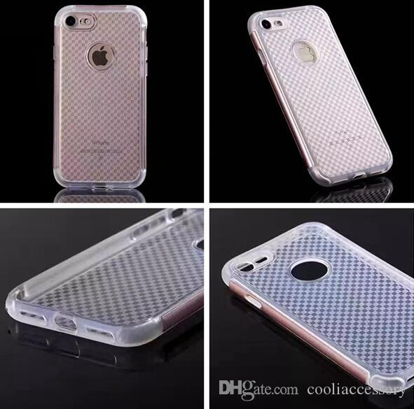 For Iphone 7 Plus 7plus 6 6S SE 5 5S Grid Hard PC TPU Soft Case Hybrid Clear Bumper Round Hole Cover Cell Phone Colorful Skin Fashion