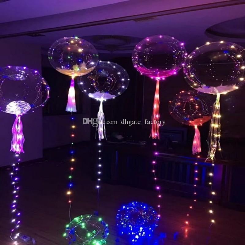LED Rope Lights Christmas Flasher Lighting gift Poms Wave 18 Inch Helium Balloons Wedding Party Celebrate decoration Christmas Halloween