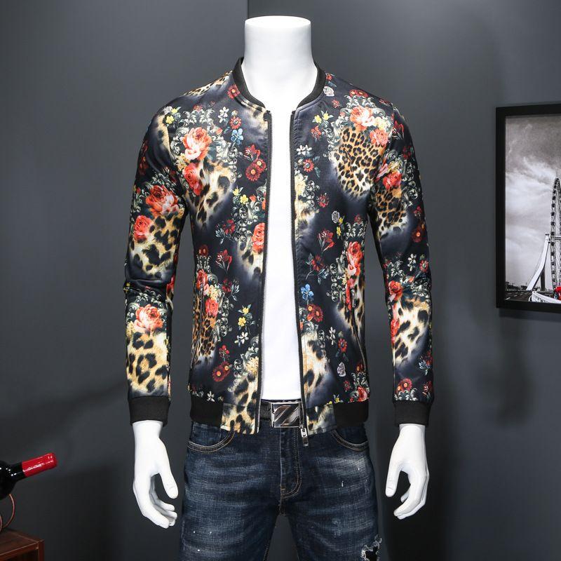 innovative design 7e9d8 60ed4 Giacca invernale da uomo in lana selvatica Leopard stampa colorata Uomo  Giacche moda cool Plus Size Slim Bomer Giacche maschili T170610