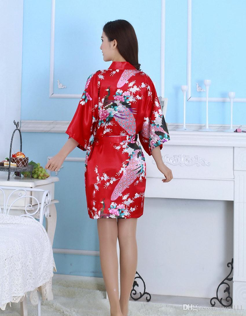 Silk Satin Wedding Bride Bridesmaid Robe Floral Bathrobe Short Kimono Night Bath Robe Fashion Dressing Gown For Women LC413-1