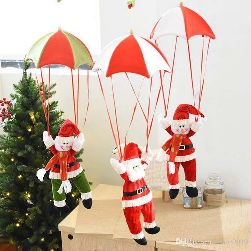 2017 New Christmas Decorations Santa Claus Snowman Parachute Hanging Ornaments Online Shopping For