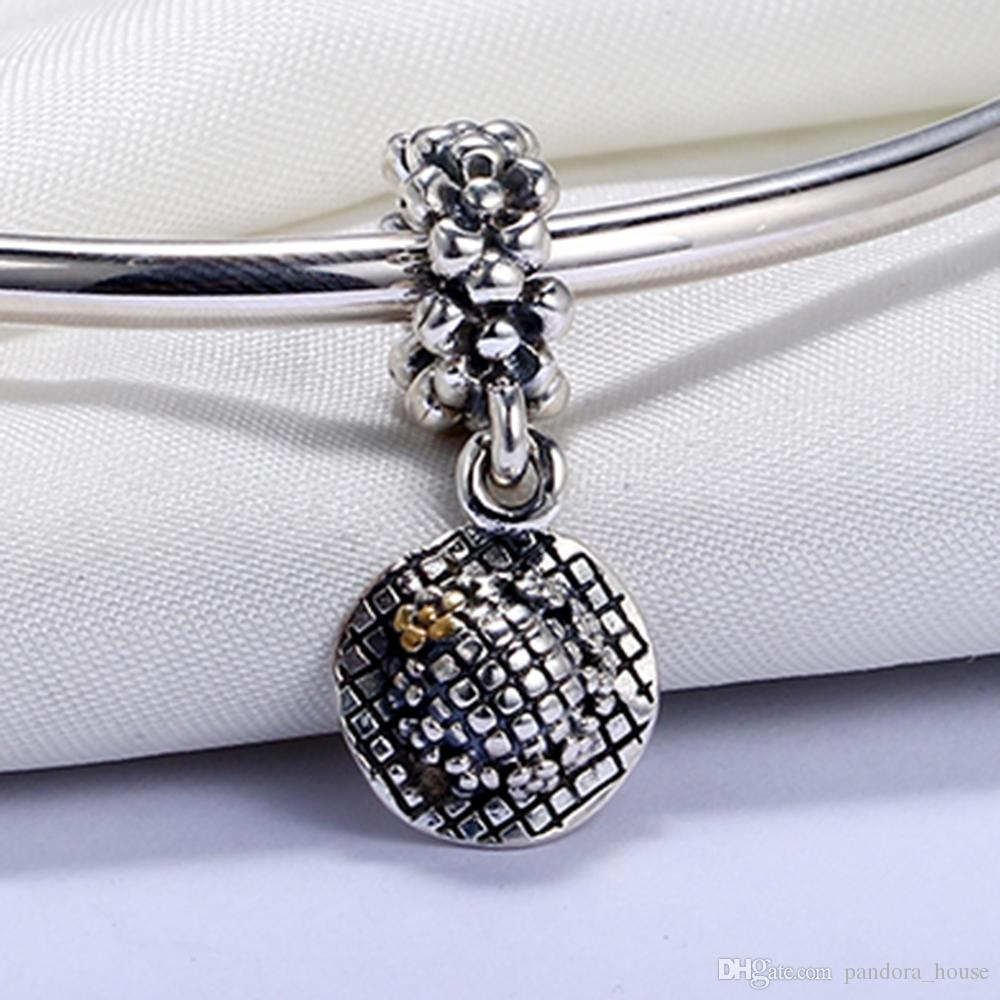 Real 925 Sterling Silver Not Plated 14k Gold Plated Flower Pendant Charm European Charms Beads Fit Pandora Snake Chain Bracelet DIY Jewelry