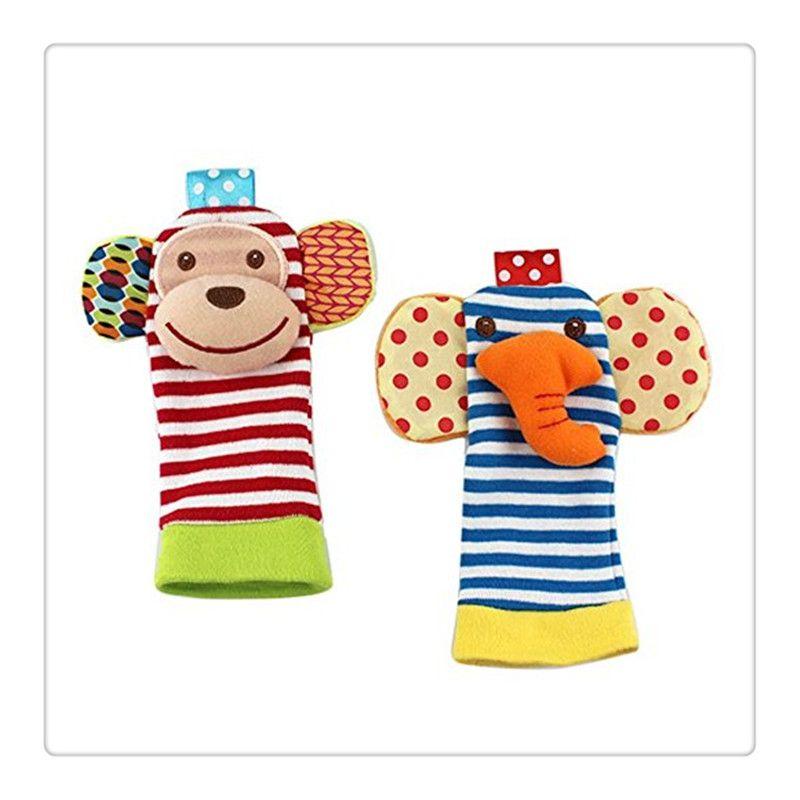 Boby Clothing Animal Socks Baby Wrist Rattles Foot Finder Baby Toys Socks Set Developmental Soft Toys Monkey and Elephant For Baby Socks