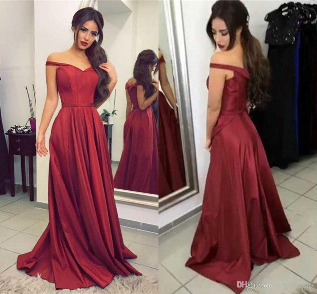 Burgundy Red Off Shoulder Prom Dresses Ruffles Taffeta Floor Length ...