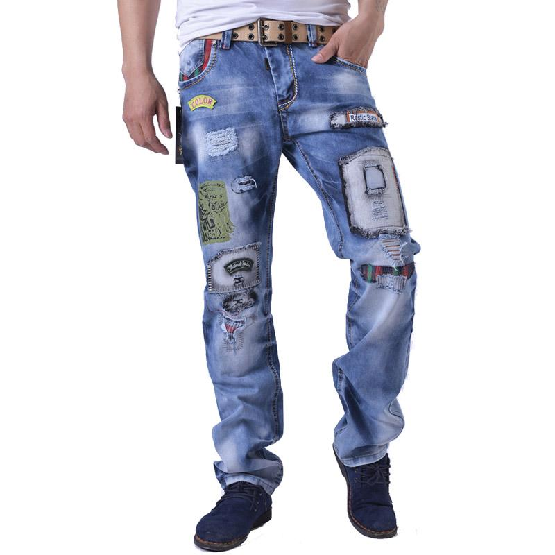 2017 Wholesale 2016 Fashion Patch Destroyed Jeans Men Faded Ripped ...
