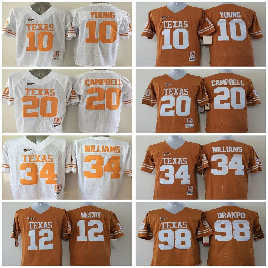 separation shoes 02625 7fadd Texas Longhorns Jersey College 10 Vince Young Football 20 Earl Campbell 34  Ricky Williams 12 Colt McCoy 98 Brian Orakpo