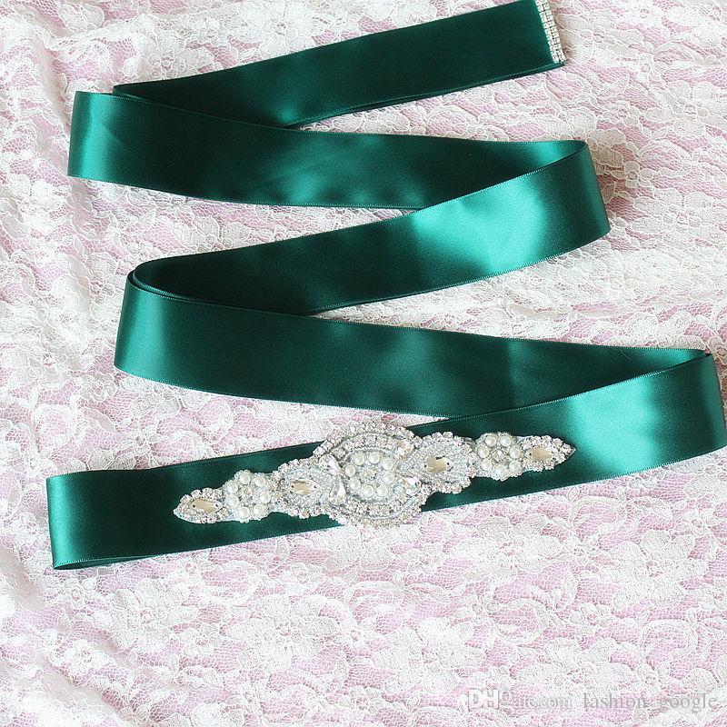 Cinturini da sposa staccabili 2017 Ribbon Perle Cristalli Pietre Strass Bling Wedding Cinturini spose Rosa Nero Avorio Champagne Bianco Rosso