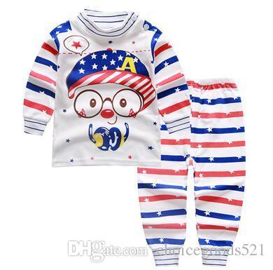 Baby Pajamas Atumn Girls Boys Long Sleeve Cotton Pajamas Sets Children Homewear Kids Cartoon Sleepwear Suit For 1~10Y