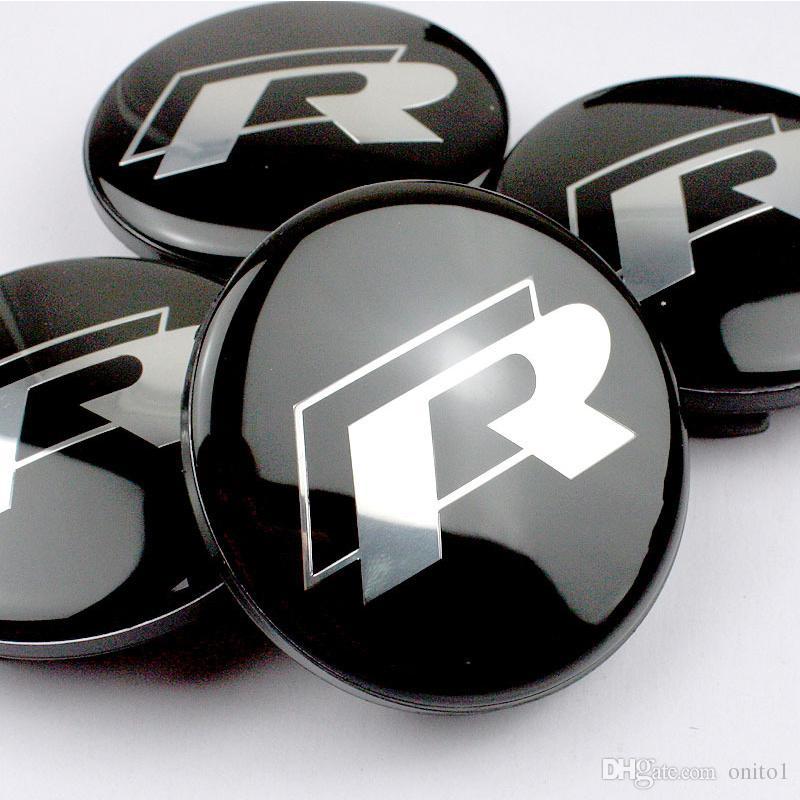 Hot selling 65mm for vw R Black Alloy Logo Auto Wheel Center Badge for Passat B6 B7 CC Golf Jetta MK5 MK6 Tiguan car wheel center caps