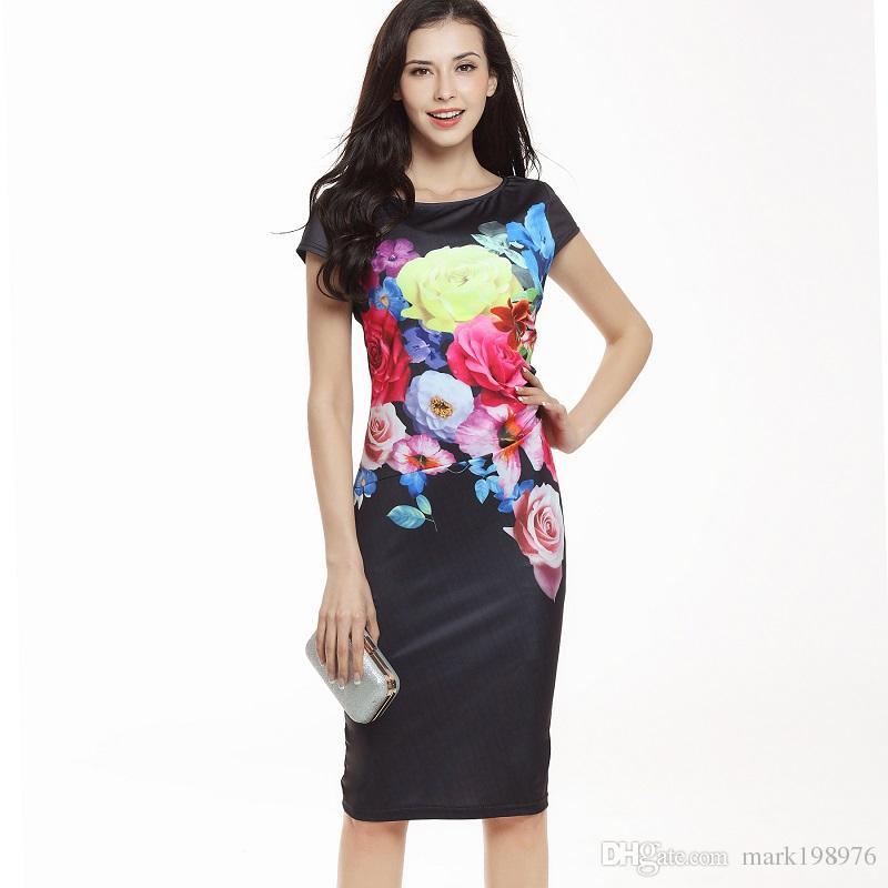 f2f406ea5a1 New Arrival 2017 Women Dresses Fashion Floral Printed Business Dress Short  Sleeve Elegant Dresses For Womens Vintage Dress DR004 Clubbing Dresses Dress  Sale ...