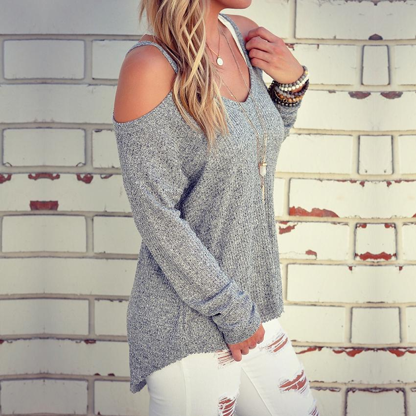 a43eb33d77bf5 2019 Wholesale Cold Shoulder Thermal Top 2016 New Grey Plain Cut Out Round  Neck Fashion Cotton Shirt Sweater Halter Top From Erzhang