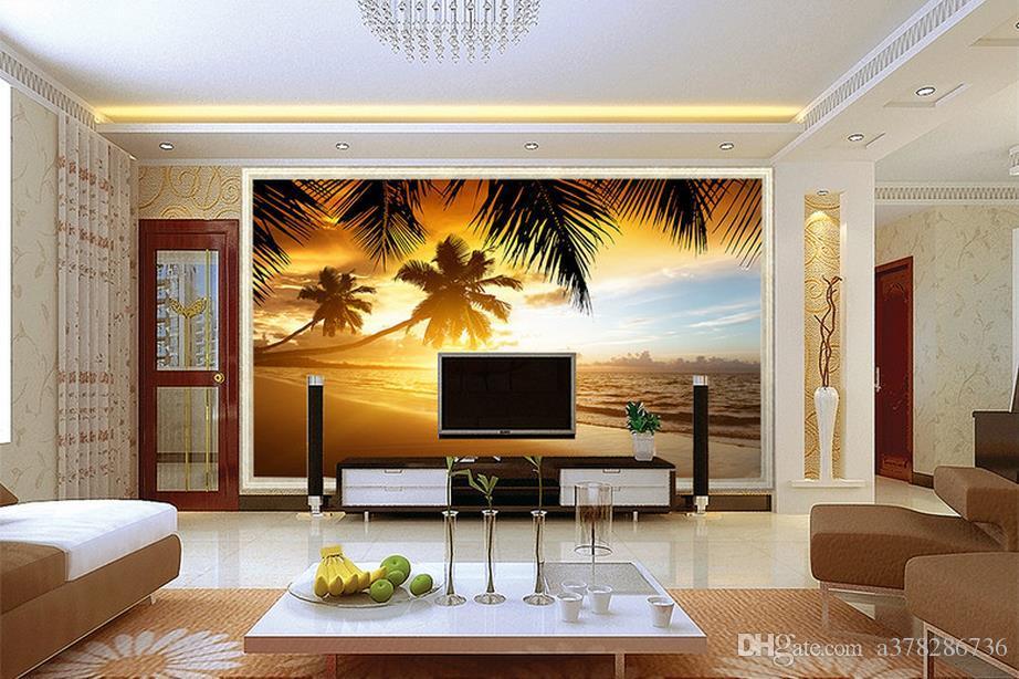High Quality Custom 3d photo wallpaper murals wall paper Sunset coconut beach scenery murals TV background wall decor room wallpaper