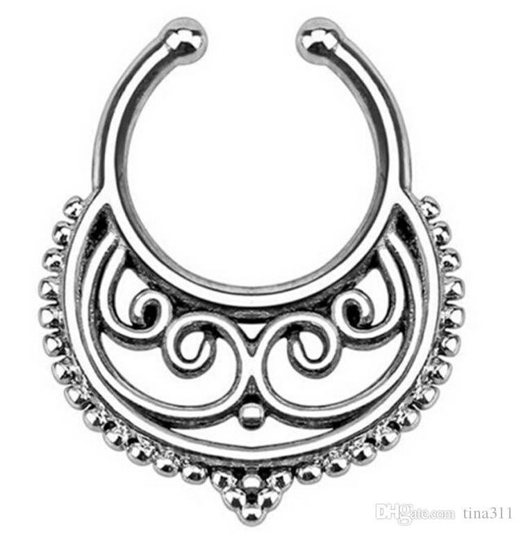Trendy Nose Rings Body Piercing Jewelry Fashion Jewelry Stainless Steel Nose Hoop Ring Fake Nose Rings Non Piercing Rings CA181