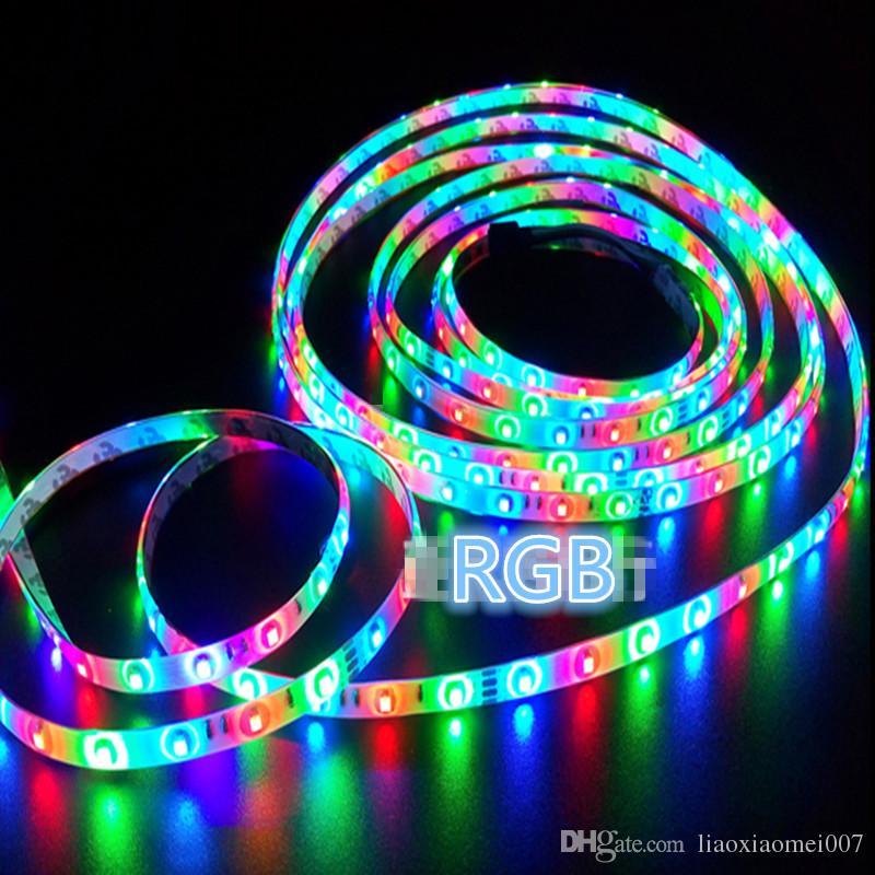 حار بيع rgb / أبيض / أبيض دافئ / بولي / أصفر / أحمر / أخضر 3528 300 المصابيح غير ماء led قطاع الخفيفة 5 متر / لفة + 24 مفاتيح ir عن