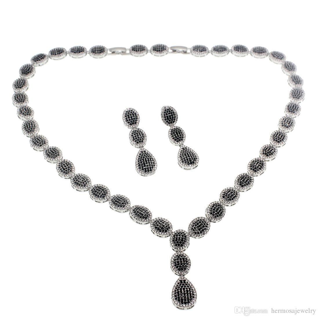 """Natural Gemstone Necklace Earrings 925 Sterling Silver Jewelry Sets Black Onyx Cubic Zirconia Women Ladies Beautiful Gifts 17""""INCH"""