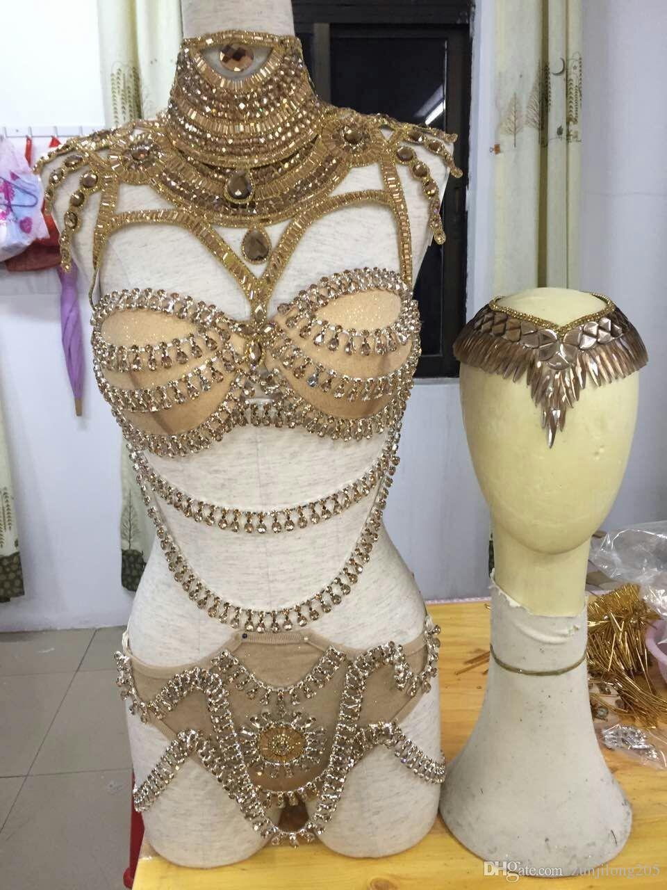 2019 Rhinestone Sequins Body Suits Costumes Women Queen Sexy Gold Bra Short  Clothing Set Female Singer DJ DS Dance Stage Wear From Zunjilong205 e43c2dd518ac