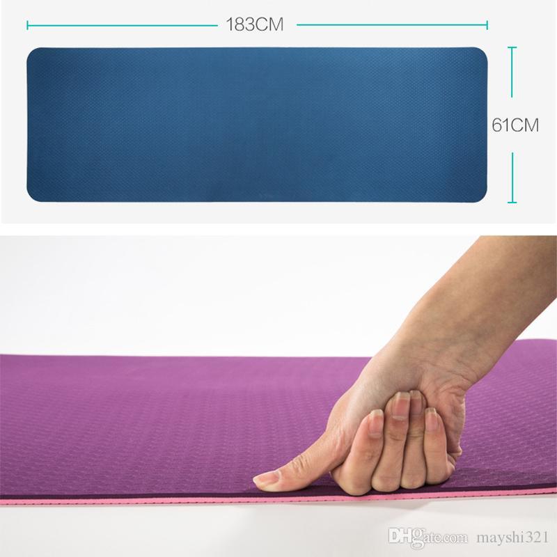 Esportes não-deslizamento ambiental tapetes de ginástica treino de fitness TPE iniciante yoga mat acolchoado yoga exercícios de fitness 183 * 61 * 0.6 cm