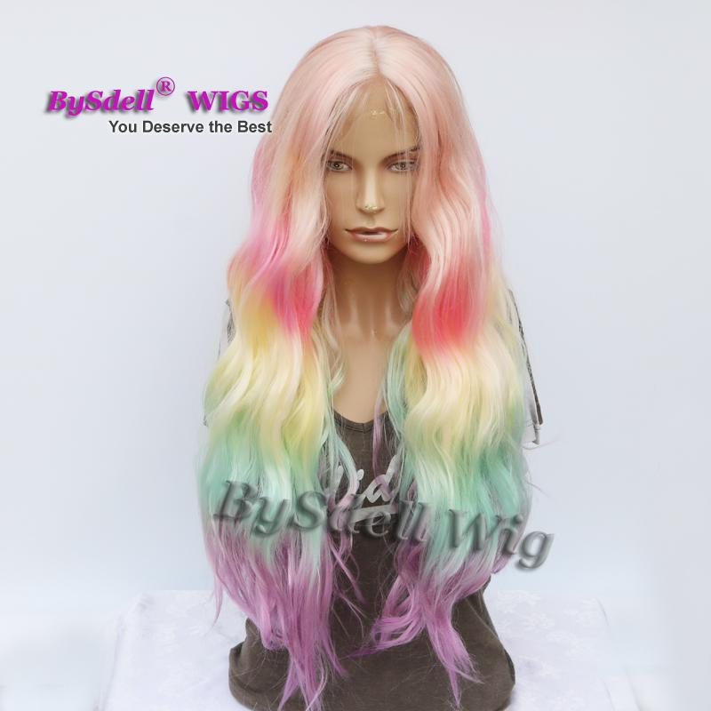 Fashion Long Loose Wavy Hair Wig Pastel Ombre Rainbow Color None Lace/ Lace Front Wig African American Cosplay Drama Party Wigs